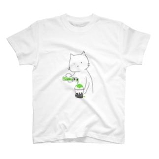 かき氷にシロップをかける猫(メロン) T-shirts