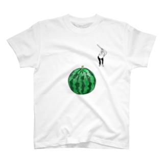 ハトさんとスイカ割り T-shirts