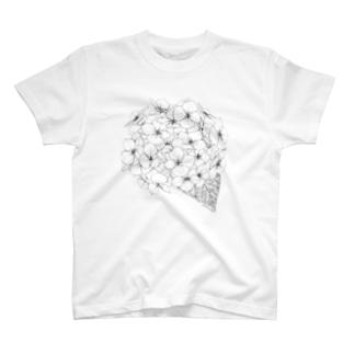 夜舟のぬりえ紫陽花 T-shirts