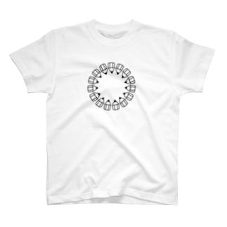 えんぴつの輪_黒 T-shirts