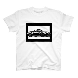ポルシェ911カレラ切り絵デザイン T-shirts