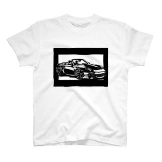 ポルシェ911カブリオレ切り絵デザイン T-shirts