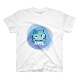 Land like a cat blue 〜 夙川育ち T-shirts