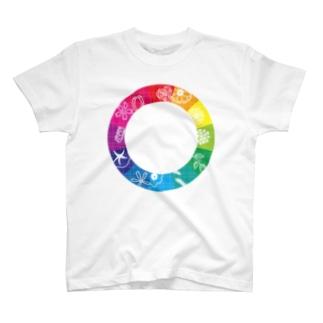 色相環フラワー T-shirts