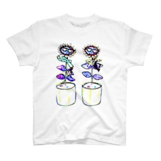 レトロフラワー T-shirts