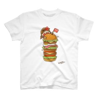 かわいい主婦の1日 ハンバーガータワー T-shirts