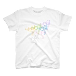 紙ペラにゃんこ(カラフル) T-shirts