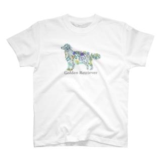 花 ボタニカル ゴールデンレトリバー T-shirts