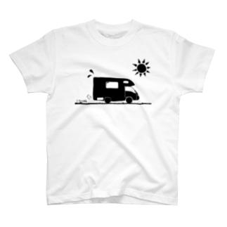 真夏のキャンピングカー(黒ベース)  T-shirts