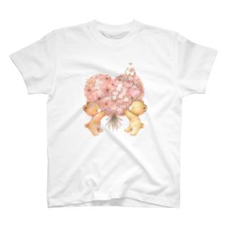 ハートのブーケ T-shirts