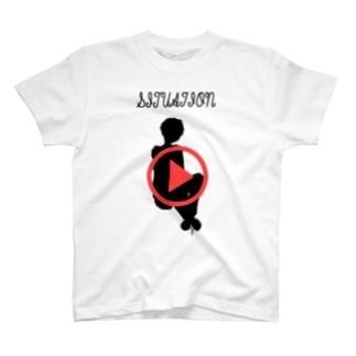 再生ボタンTシャツ T-shirts