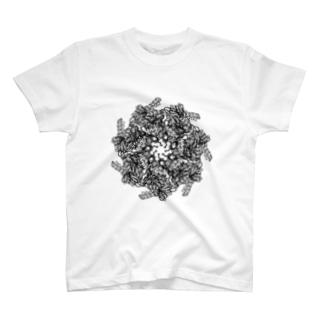 理系Tシャツ(バイオ・化学中心)のGroEL-GroES複合体 モノクロ T-shirts
