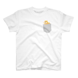 ひょっこり柴イッヌ(グレー) T-shirts