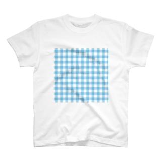 マーケットデザインワーク ビイトのギンガムチェック水色のクリアマルチケース T-shirts