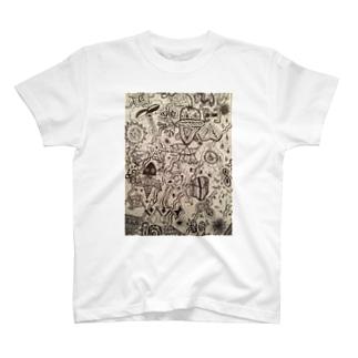 【一筆書き】海 T-shirts