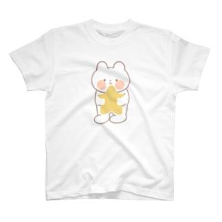 お星さまぎゅっとのくまねこ(フチアリ) T-shirts