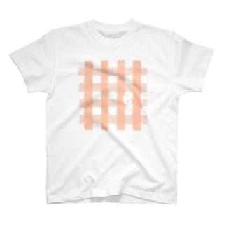 チェックとひょっこりくまねこ T-shirts