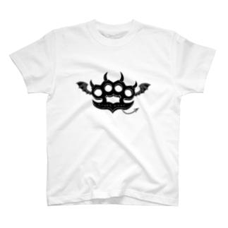 Ryoku-Knuckle devil b-white T-shirts