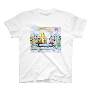 水彩イラストグッズのあじさいのバス停 T-shirts