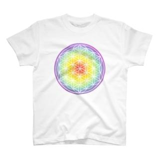 パステルフラワーオブライフ(虹) T-shirts