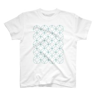 sasiko-七宝模様(青)- T-shirts