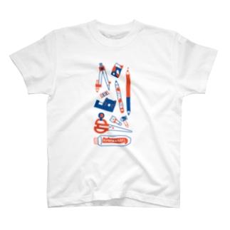 TAROPIの赤青ねこ文具 T-shirts
