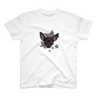 ミニピン星柄Tシャツ T-shirts