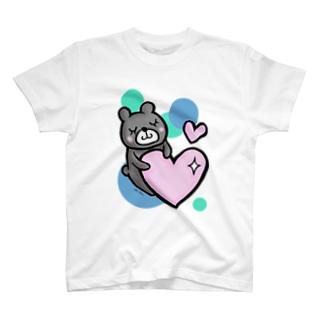 【再販】ほっこりクマさん 背景付version T-shirts