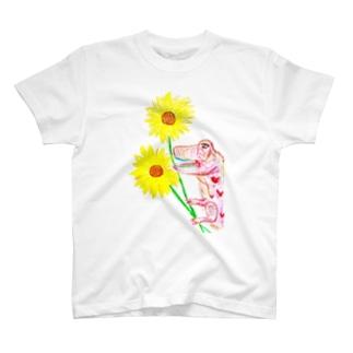 ヒマワリ恐竜 T-shirts