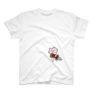 くみひもねじねじ屋のヒモ好きねこ  T-shirts