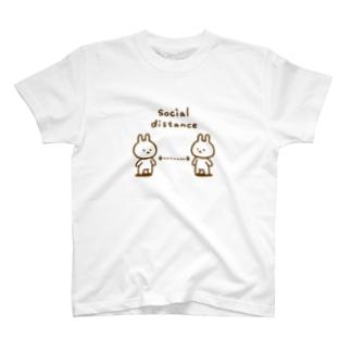 ソーシャルディスタンス ごったにうさぎ T-shirts