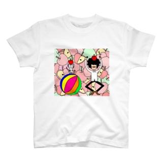 くるくるパーマとネコとリンゴ(カラー) T-shirts