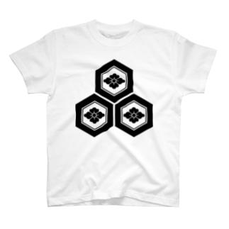 三つ盛り亀甲に花菱紋(浅井長政)黒 T-shirts