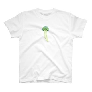 曽我農園の畑で葉を切り落として露わにしたブロッコリー T-shirts