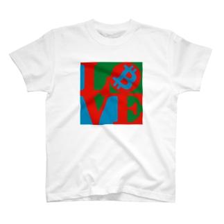 カマラオンテのラブビットコイン 仮想通貨 ロバート・インディアナ LOVE風 T-shirts