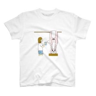 ワンデー・アイデアのコロナ対策の着ぐるみを干す T-shirts