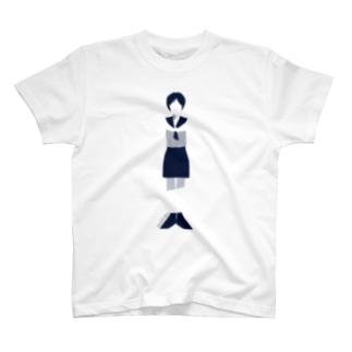 まっすぐの女の子(セーラー)_白T T-shirts