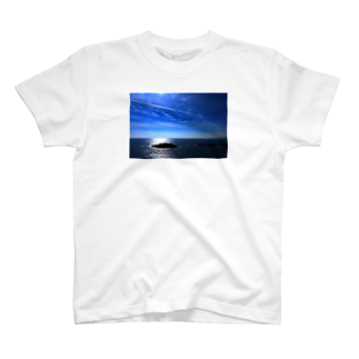 M.F.Photoの夏の空と飛行機雲 Tシャツ
