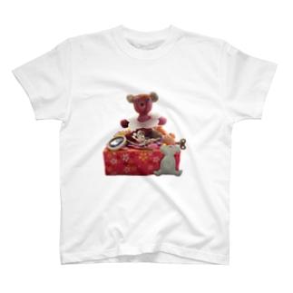羊毛フェルト台座テディベア T-shirts