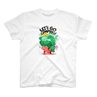 キャンプ行こう! Green T-shirts
