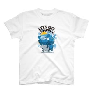 キャンプ行こう! Blue T-shirts