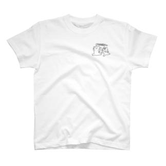 逃げるねこ 追うねこ モノクロ T-shirts
