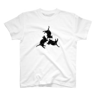 黒猫トライアングル T-shirts