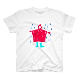 雨とカッパと長靴 T-shirts