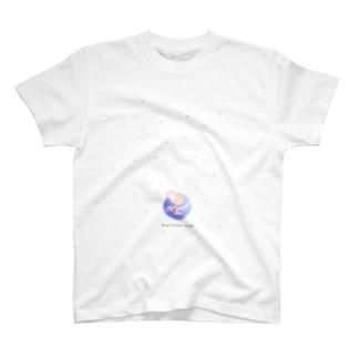 Blue Flower Clockのおやすみ(白) T-shirts