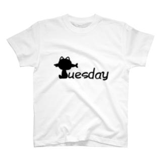 のびる亭のにゃんこ曜日 Tuesday T-shirts