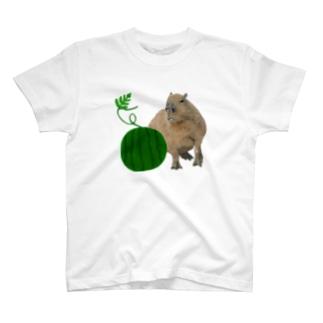 いきもの大好き!ほほえみフレンズのカピバラとスイカ T-Shirt