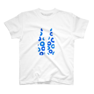 一升瓶シルエット 花とネコ T-shirts