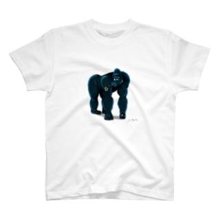 ゴリラと花 T-shirts