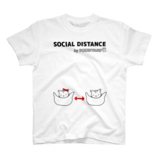 Life Design Factory PINCEのソーシャルディスタンス猫 T-Shirt